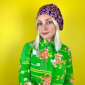 Vintage 60s circle print head scarf hippie bandana